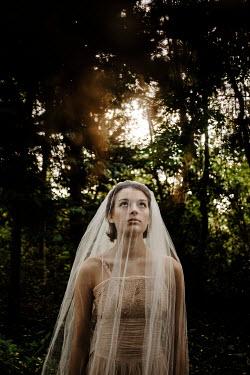 Esme Mai GIRL IN WHITE VEIL IN SUNLIT FOREST Women