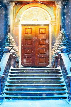 Lee Avison DOORWAY OF GRAND HOUSE WITH SNOWY CHRISTMAS TREES Building Detail