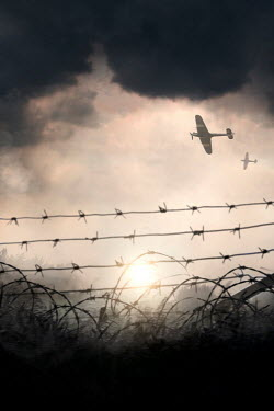 Lee Avison WARPLANES FLYING OVER FIELD WITH BARBED WIRE See All Transport/Traveling
