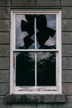 Lisa Bonowicz EXTERIOR OF HOUSE WITH SMASHED WINDOW Building Detail