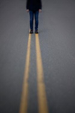Lisa Bonowicz MAN STANDING ON YELLOW LINES IN ROAD Men