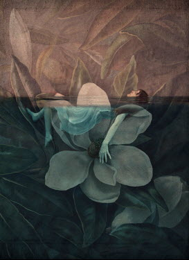 Erika Masterson TINY GIRL ON FLOWER FLOATING IN WATER Women