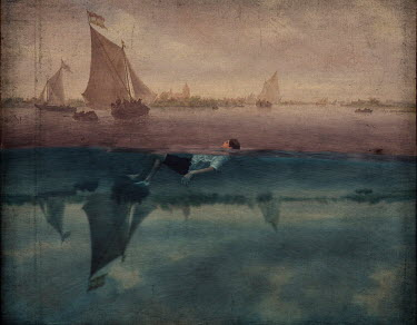 Erika Masterson MAN FLOATING IN WATER WITH HISTORICAL BOATS Men