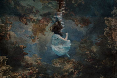 Erika Masterson WOMAN UNDERWATER WITH BIBLICAL PAINTING Women