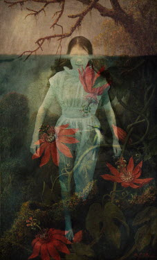 Erika Masterson GIRL UNDERWATER WITH RED FLOWERS Women