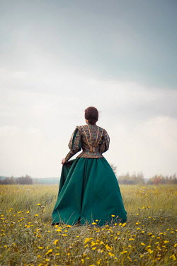 Joanna Czogala HISTORICAL BRUNETTE WOMAN STANDING IN FIELD Women