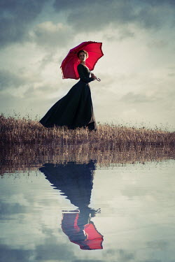Natasza Fiedotjew Historical woman with umbrella in countryside