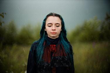 Alexandra Bochkareva GIRL WITH BLUE HAIR IN COUNTRYSIDE IN RAIN Women
