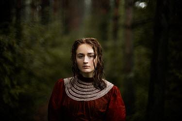 Alexandra Bochkareva SERIOUS BRUNETTE GIRL IN FOREST Women