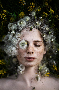 Alexandra Bochkareva GIRL WITH CLOSED EYES COVERED WITH DANDELION SEEDS Women