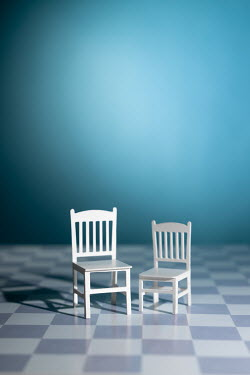 Peter Chadwick MINIATURE CHAIRS WITH CHEQUERED FLOOR Miscellaneous Objects