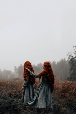 Rekha Garton TWO GIRLS WITH RED HAIR IN AUTUMN COUNTRYSIDE Women