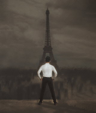 Svitozar Bilorusov MAN IN HAT WATCHING EIFFEL TOWER Men