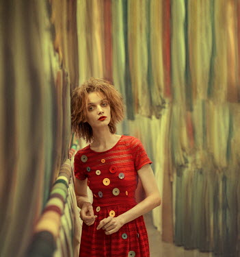 Svitozar Bilorusov GIRL IN DRESS OF BUTTONS WITH FABRIC Women