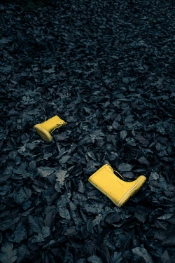 Magdalena Russocka yellow child's wellies abandoned in leaves