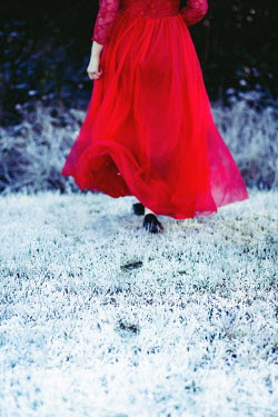 Marie Carr WOMAN WITH RED DRESS IN FROSTY GARDEN Women