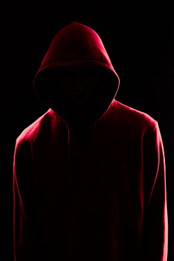 Magdalena Russocka faceless modern man wearing red hoodie in shadow insiade