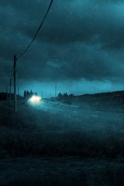Magdalena Russocka car with headlights on misty country road