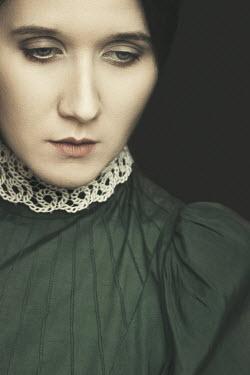 Dorota Gorecka SAD WOMAN IN GREEN AND LACE DRESS Women