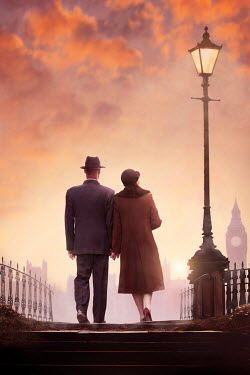 Lee Avison RETRO COUPLE HOLDING HANDS IN LONDON AT SUNSET Couples