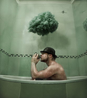 Svitozar Bilorusov MAN DRINKING IN BATH WITH RAINCLOUD Men