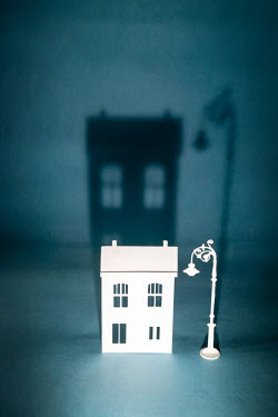 Peter Chadwick MINIATURE HOUSE WITH SHADOW AND LAMPPOST Miscellaneous Objects