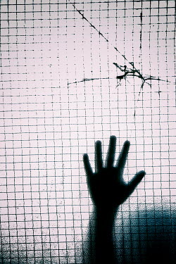 Mohamad Itani CHILD'S HAND PRESSED AGAINST CRACKED WINDOW Body Detail