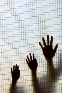 Mohamad Itani HANDS PRESSED AGAINST CRACKED WINDOW Groups/Crowds