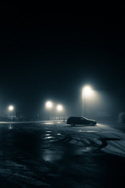 Magdalena Russocka single car parked on foggy car park at night
