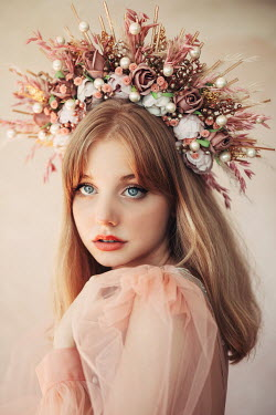 Jovana Rikalo BLONDE WOMAN WITH FLORAL HEADDRESS Women