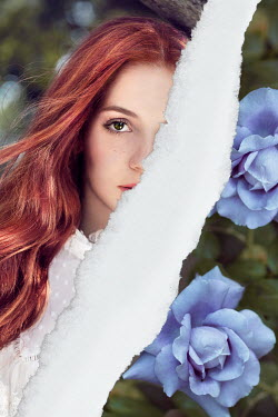 Giada Piras Torn photograph of young woman and purple flowers