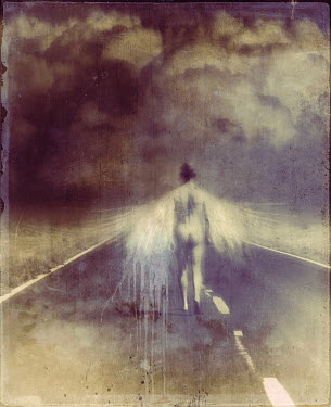 Kamil Vojnar Naked man with angel wings walking on highway