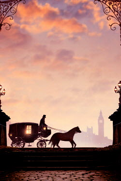 Lee Avison horse and carriage in silhouette at sunset in London