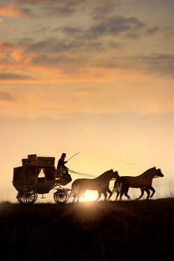Lee Avison horse and carriage with luggage silhouetted at sunset