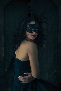Robin Macmillan Young woman in masquerade mask