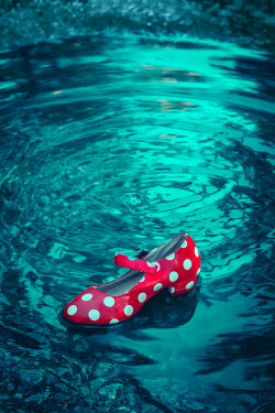 Joanna Czogala Discarded polka dot woman's shoe in puddle
