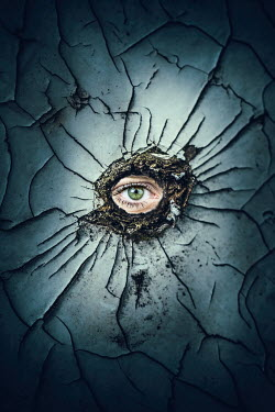 Magdalena Russocka eye looking through hole in cracked wall