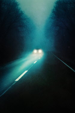 Magdalena Russocka car with headlights on country road
