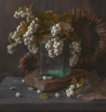 Andreeva Svoboda WHITE BERRIES BOTTLES ON WOODEN TABLE Flowers