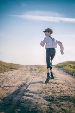Galya Ivanova LITTLE BOY IN CAP RUNNING IN COUNTRYSIDE Children