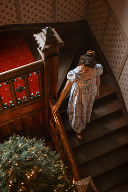 Shelley Richmond REGENCY WOMAN ON STAIRCASE WITH CHRISTMAS TREE Women