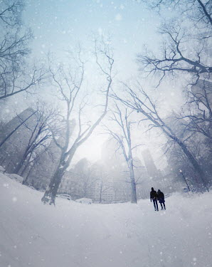 ILINA SIMEONOVA Couple walking in snowy park during winter