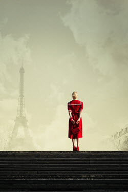 Magdalena Russocka retro woman in red dress in paris