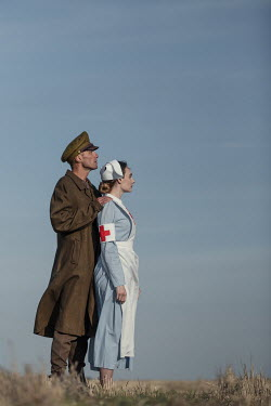 Magdalena Russocka wartime soldier and nurse standing in field