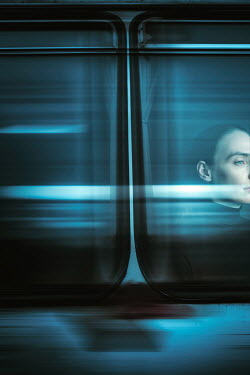 Magdalena Russocka woman behind moving train window