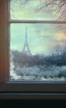 Drunaa Eiffel Tower through window in Paris, France