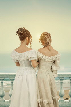 Victoria Davies Young women in white Victorian dresses