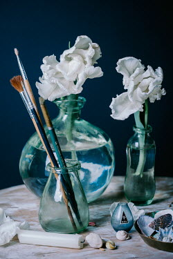 Magdalena Wasiczek White flowers in vase with paintbrushes