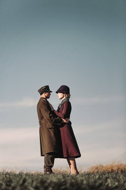 Magdalena Russocka wartime couple embracing in countryside