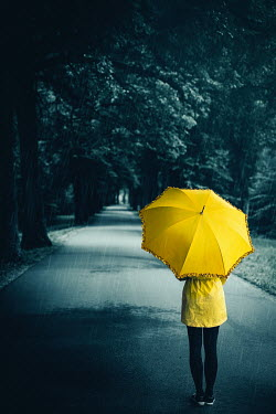 Natasza Fiedotjew Girl with umbrella standing on road in rain